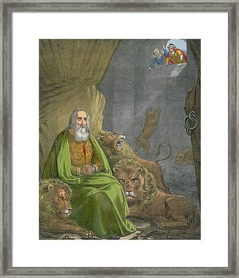 Daniel In The Lions' Den Framed Print by Siegfried Detler Bendixen