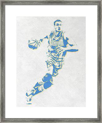 Danilo Gallinari Denver Nuggets Pixel Art Framed Print by Joe Hamilton