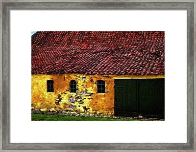 Danish Barn Watercolor Version Framed Print by Steve Harrington
