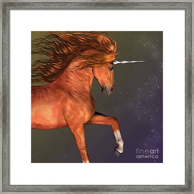Dapple Chestnut Unicorn Framed Print by Corey Ford