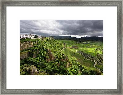 Dappled Sunshine On Green Fields In Spring At El Tajo Gorge At T Framed Print by Reimar Gaertner