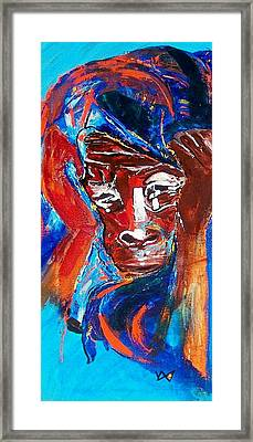 Darfur - She Cries Framed Print by Valerie Wolf