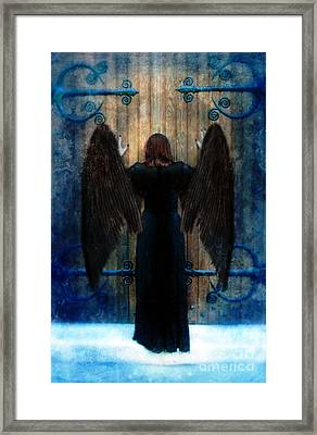 Dark Angel At Church Doors Framed Print by Jill Battaglia