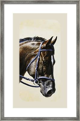 Dark Bay Dressage Horse Phone Case Framed Print by Crista Forest