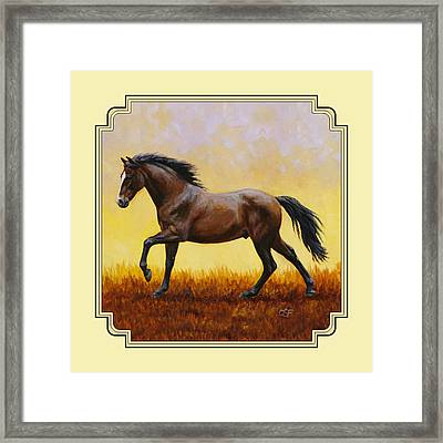 Dark Bay Running Horse Yellow Framed Print by Crista Forest