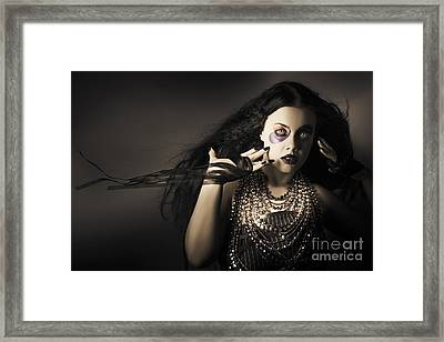Dark Beauty Woman. Rich Jewellery And Black Nails Framed Print