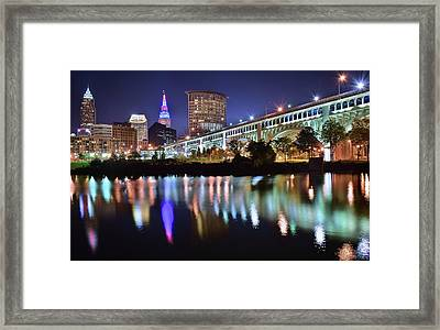Dark Blue Night In Cle Framed Print by Frozen in Time Fine Art Photography
