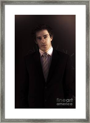 Dark Business Man Standing In Shadows Framed Print