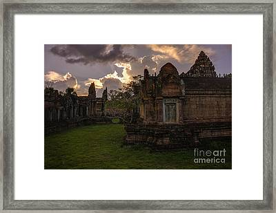 Dark Cambodian Temple Framed Print by Mike Reid