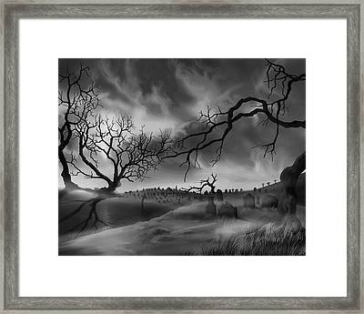 Framed Print featuring the painting Dark Cemetary by James Christopher Hill