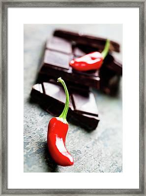 Dark Chocolate With Chilli Pepper - Sweet Food Framed Print by Natalia Klenova