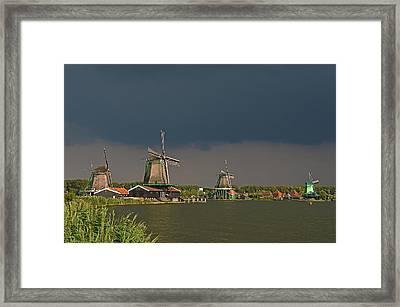 Dark Clouds Above Zaanse Schans Framed Print