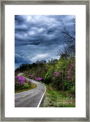 Framed Print featuring the photograph Dark Clouds Over Redbud Highway by Thomas R Fletcher