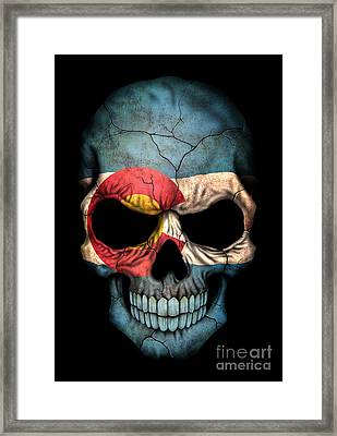 Dark Colorado Flag Skull Framed Print by Jeff Bartels
