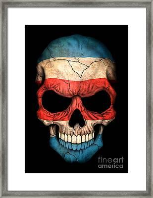 Dark Costa Rican Flag Skull Framed Print