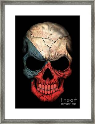 Dark Czech Flag Skull Framed Print by Jeff Bartels
