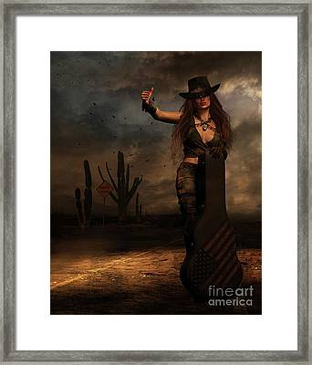 Framed Print featuring the digital art Dark Desert Highway by Shanina Conway