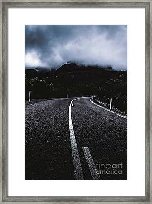 Dark Dramatic Blue Road Through Sinister Mountains Framed Print by Jorgo Photography - Wall Art Gallery