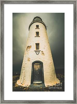 Dark Dramatic Lighthouse Framed Print