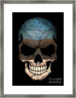 Dark Estonian Flag Skull Framed Print by Jeff Bartels