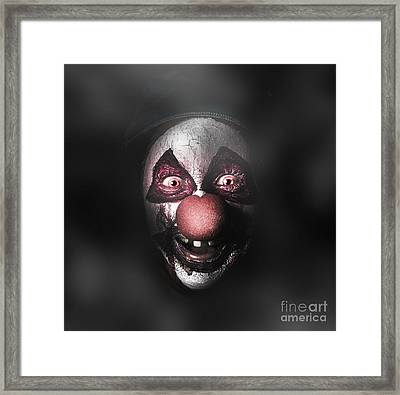 Dark Evil Clown Face With Scary Joker Smile Framed Print by Jorgo Photography - Wall Art Gallery