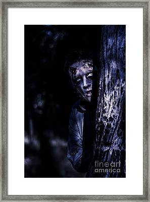 Dark Evil Zombie Watching From Horror Forest Framed Print by Jorgo Photography - Wall Art Gallery