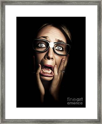 Dark Face Of Business Woman Under Stress And Fear Framed Print by Jorgo Photography - Wall Art Gallery