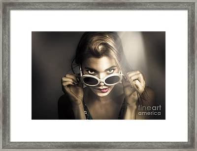 Dark Fashion Pinup Model Framed Print