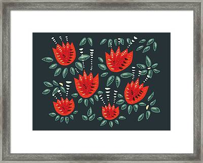 Dark Floral Pattern Of Abstract Red Tulips Framed Print