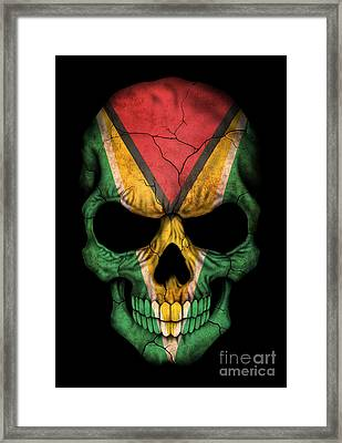 Dark Guyanese Flag Skull Framed Print by Jeff Bartels