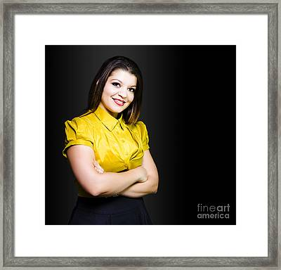 Dark Haired Business Beauty In Gold Blouse Framed Print by Jorgo Photography - Wall Art Gallery