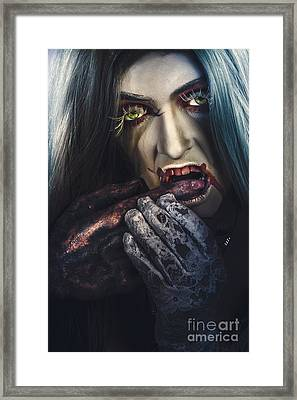 Dark Halloween Horror Portrait. Creepy Vampire Framed Print by Jorgo Photography - Wall Art Gallery