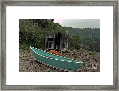 Dark Harbour Fisherman Shack And Boat Framed Print