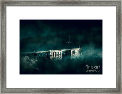 Dark Haunting Wooden Pier Framed Print by Jorgo Photography - Wall Art Gallery