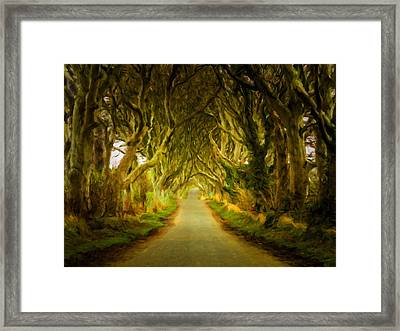 Dark Hedges Road Through Old Trees In Digital Oil Framed Print by Steven Heap