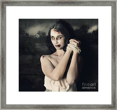 Dark Horror Scene Of An Evil Zombie Woman Tied Up Framed Print