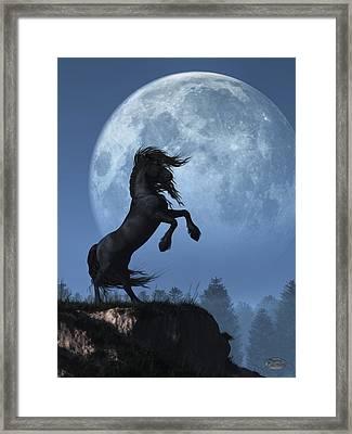 Dark Horse And Full Moon Framed Print by Daniel Eskridge
