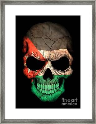 Dark Jordanian Flag Skull Framed Print