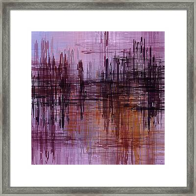 Framed Print featuring the painting Dark Lines Abstract And Minimalist Painting by Ayse Deniz