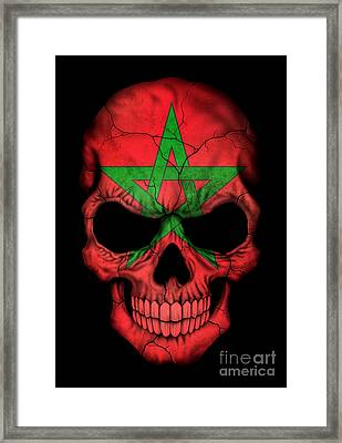Dark Moroccan Flag Skull Framed Print by Jeff Bartels