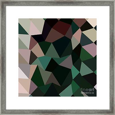 Dark Moss Green Abstract Low Polygon Background Framed Print by Aloysius Patrimonio