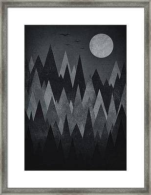 Dark Mystery Abstract Geometric Triangle Peak Woods Black And White Framed Print