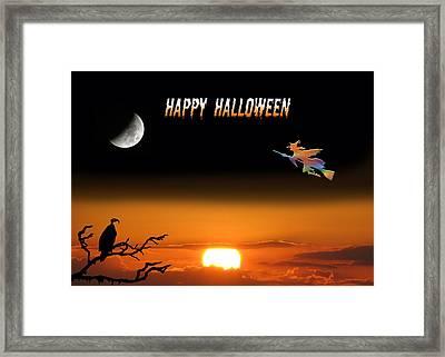Dark Night Halloween Card Framed Print by Adele Moscaritolo