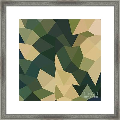 Dark Olive Green Abstract Low Polygon Background Framed Print