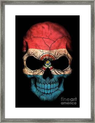 Dark Paraguay Flag Skull Framed Print