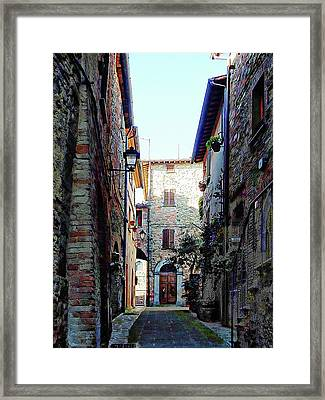 Dark Passageway In Panicale Framed Print