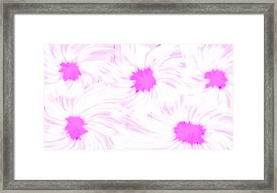 'dark Pink And White Flower Abstract' Framed Print