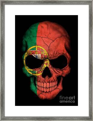 Dark Portuguese Flag Skull Framed Print by Jeff Bartels