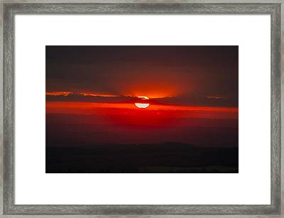 Dark Red Sun In Vogelsberg Framed Print