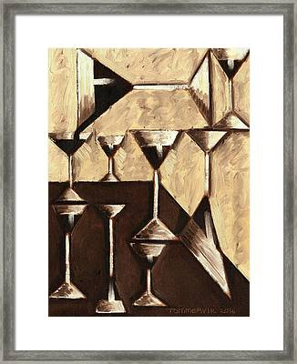 Framed Print featuring the painting Tommervik Abstract Dark Rum Cocktails Art Print by Tommervik